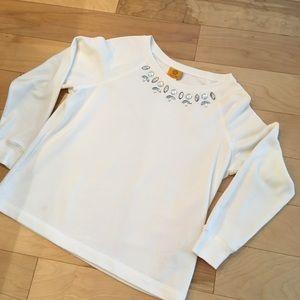 Ruby Rd. White L Sweatshirt Rhinestones